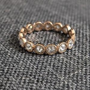 Infinity rose cut moissanite ring